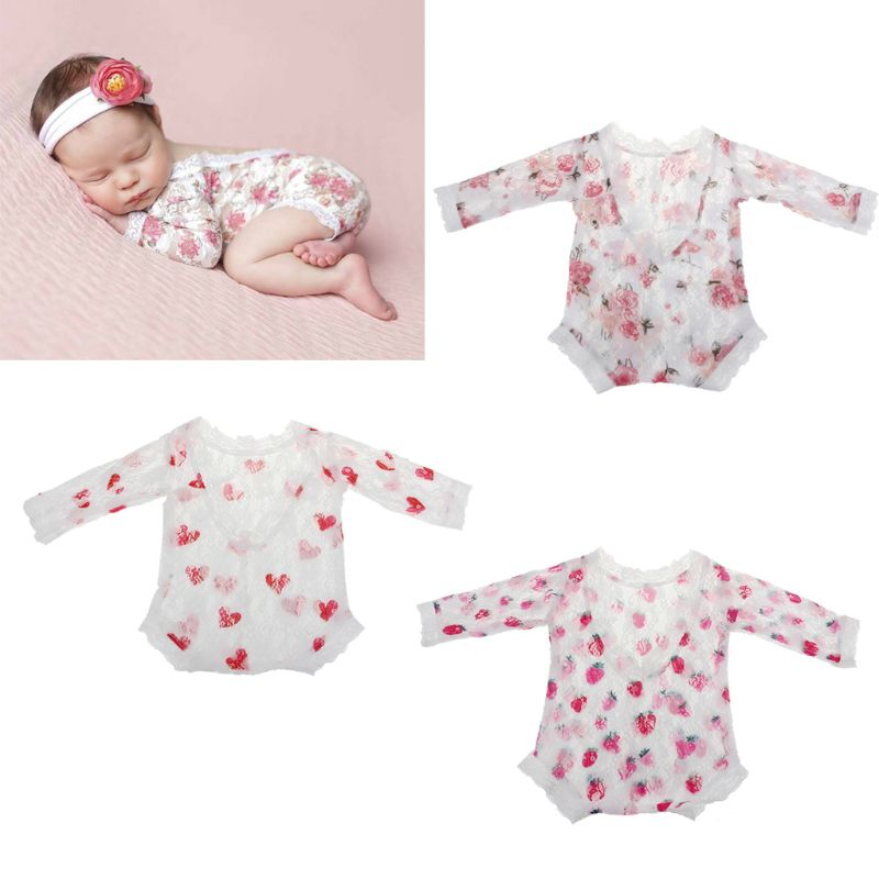 Newborn Photography Props Baby Floral Lace   Romper   Hollow Open Back   Romper   Newborn Shooting Outfits Baby Girl Clothes JUN-24