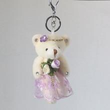 Cute Fluffy Plush Bear Keychain Lovely Panda Animal Key Chains Women Girls Fake Fur Keyring Bag Car Holder