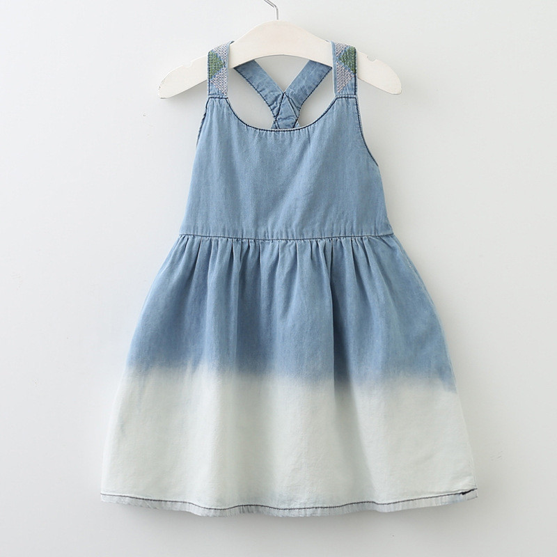 Kids Dresses for Girls Summer Dress Denim 2018 Kids Clothes Blue+White  Cowboy Toddler Girl Strap Dress Children Clothing 3-7Y