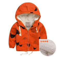 JENYA Fashion Spring Autumn Boys Hooded Jackets Plus Velet Cartoon Monster & Penguin Print Outwear High Quality Blouson Garcon