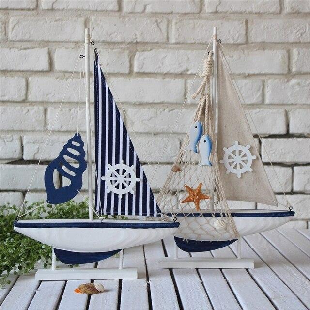 Moderne Mediterrane Hout Zeil Boot Model Craft Boot Vorm Thuis ...