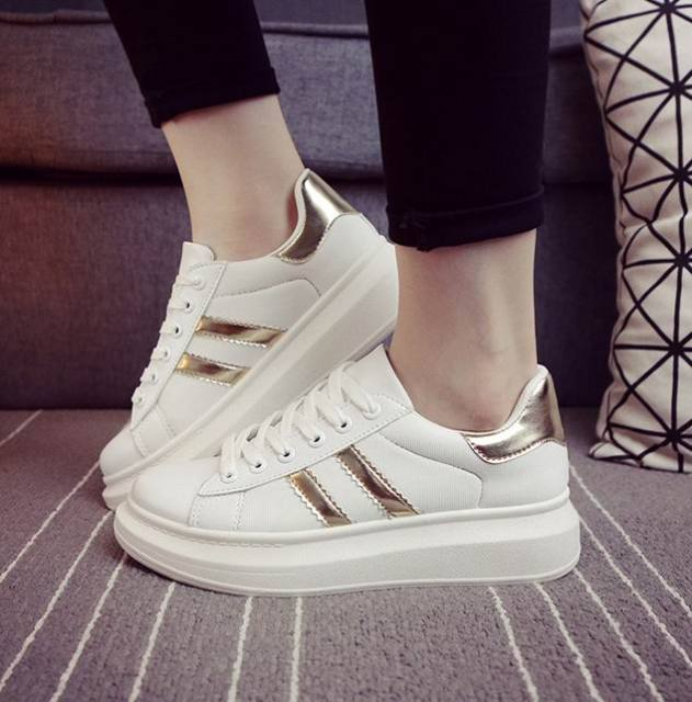 cbd613684bc Hot B06 Women Shoes White Girl Lady Running Shoes Sneakers Woman Sports  Walking Fashion PU Casual Trainers Board White Shoes