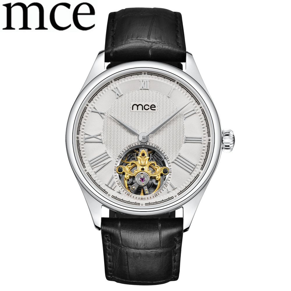 лучшая цена MCE Relogio Masculino Men Leather Band Men Wrist Watch Business Watch Casual Men Skeleton Automatic Mechanical Watches