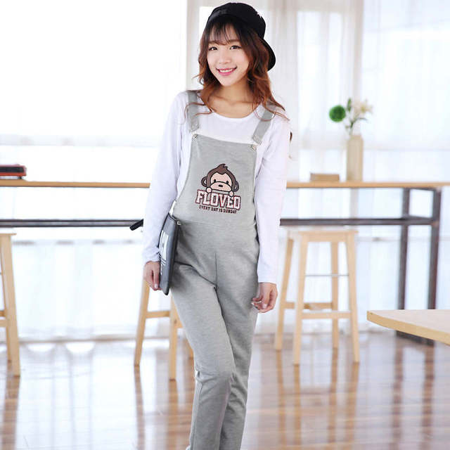 2017 Pregnant women pants Cartoon causal suspender bib Pants Soft Maternity overalls P pregnancy Jumpsuits Comfortable