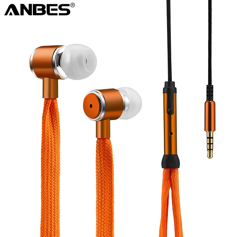 ANBES In-Ear Wired Super Bass Headphone Earphone shoelace Headset for Phone with Mic 3.5mm Jack Standard Stereo Earbuds factory price binmer hot selling 3 5mm super bass stereo in ear earphone headphone headset nov1 drop shipping