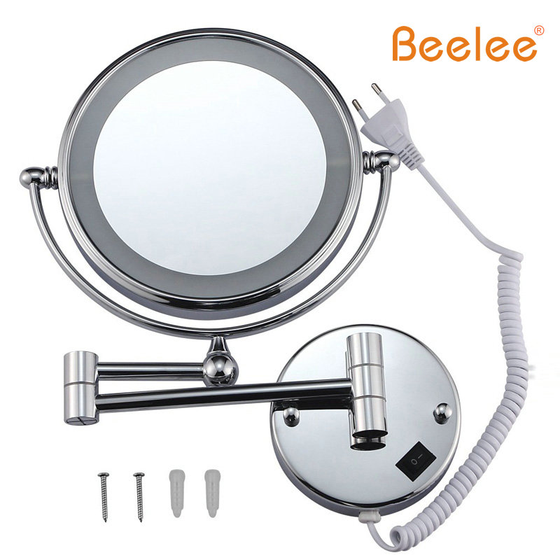 Beelee Furniture Mirror Wall Mounted Makeup Mirror Led Double Side 360-degree Swivel 8 Inch 5x7x Magnifier M1805 Light Mirror