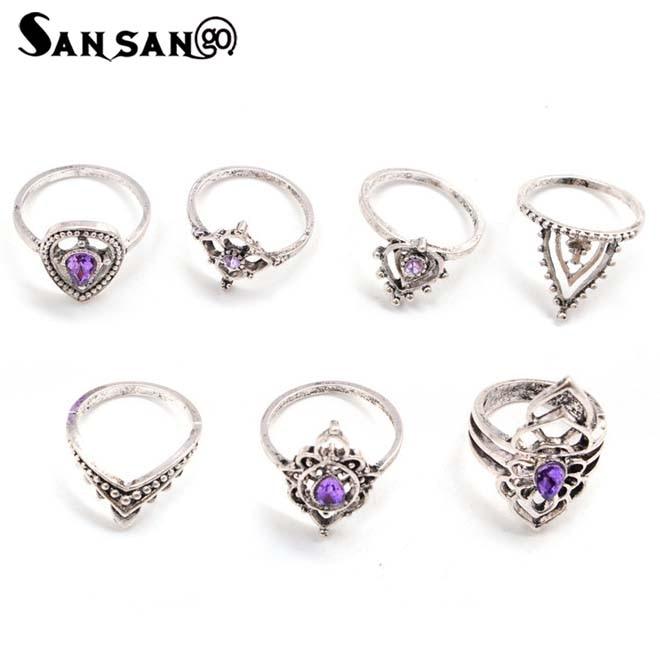 7Pcs Charm Purple Teardrop Shape Kunckle Rings Trendy Jewelry Gift For Girlfriend Lover Fit Party Wedding Women Accessories
