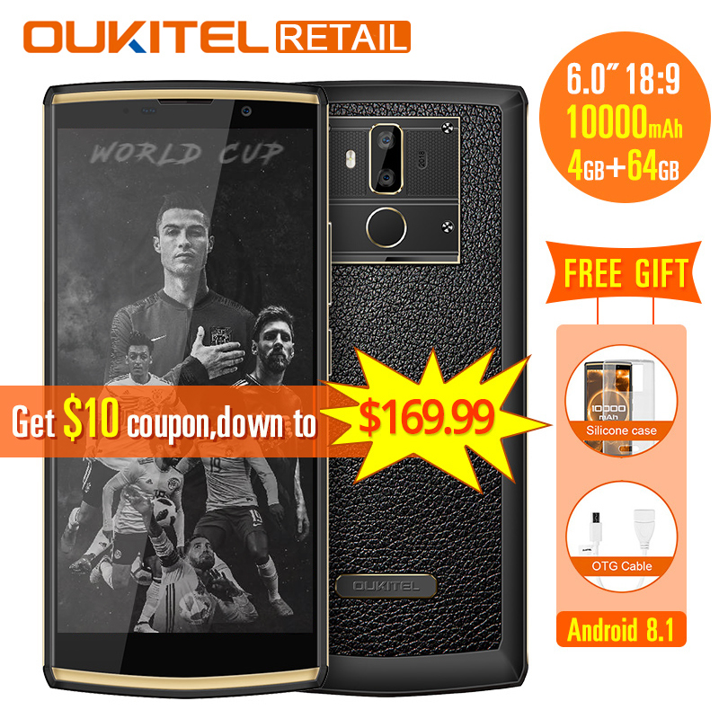 Oukitel K7 18:9 Full Display 6.0''FHD Mobile Phone Android 8.1 4GB RAM 64GB ROM MT6750T Octa Core 13MP dual Cam 10000mAh 9V/2A