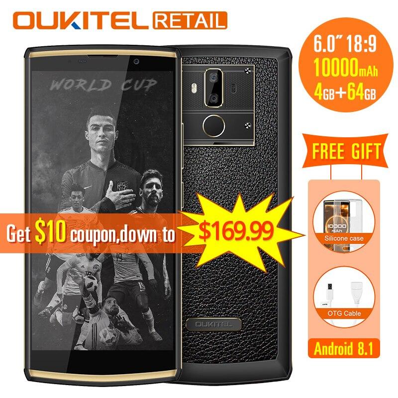 Oukitel K7 18:9 Plein Écran 6.0 ''FHD Mobile Téléphone Android 8.1 4 GB RAM 64 GB ROM MT6750T Octa Core 13MP double Cam 10000 mAh 9 V/2A