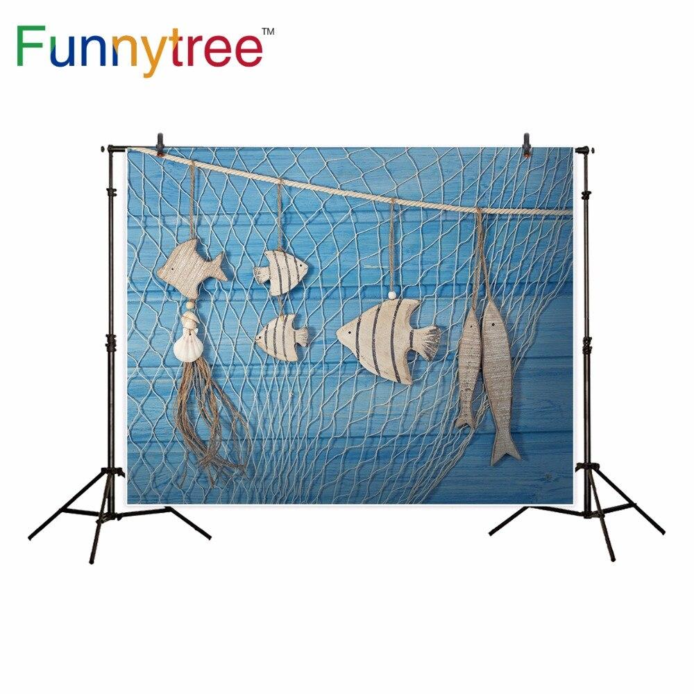 Funnytree photography backdrop blue wood sea nautical theme baby shower background photocall decor photo studio professional шапка носок dc igloo nautical blue
