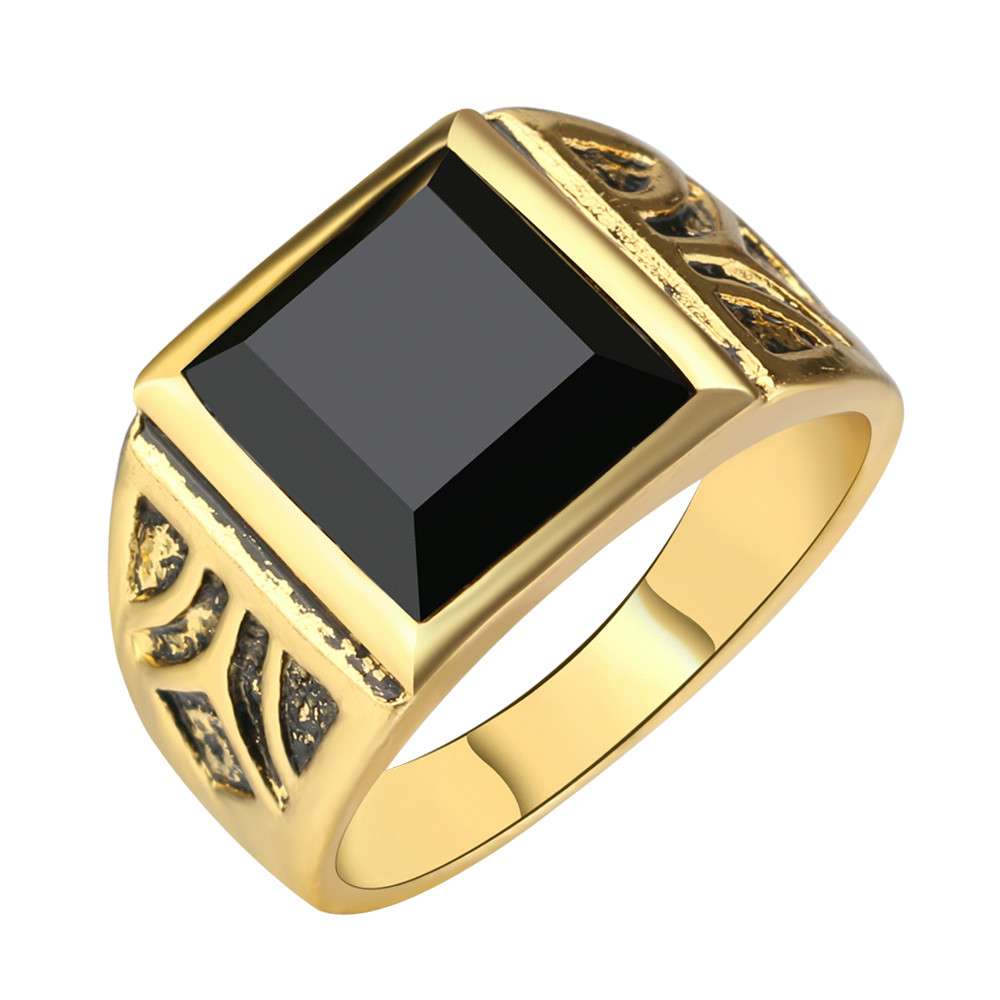 Men jewelry high quality black gold ring men wedding party for Wedding gold rings for men