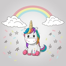 Laeacco Rainbow Unicorn Birthday Party Cloud Poster Baby Portrait Photography Backdrops Photo Backgrounds Photocall Studio