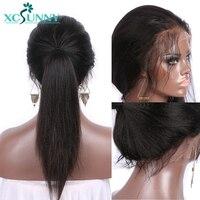 Xcsunny яки прямо бесклеевого парики натуральные волосы с ребенком волос предварительно сорвал для Для женщин Бразильский натуральный черный
