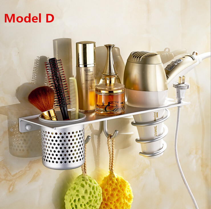 4 Type Brand Space Aluminum Hair Dryer Rack Durable Wall Mounted Hair Dryer  Holder Bathroom Wall Storage Shelf W/ Hanging Hooks In Storage Holders U0026  Racks ...