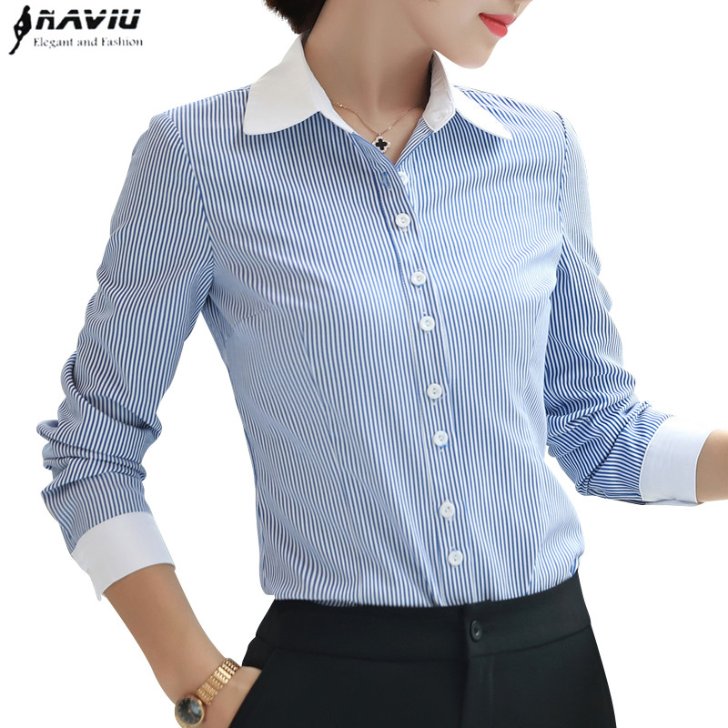 light Stripes Corte Slim Negocios Plus Camisa De Rayas Blusa Ropa Gasa Oficina Mujer Blue Manga Stirpes Moda Larga Tamaño Nuevo Formal Temperamento q1AaxRz