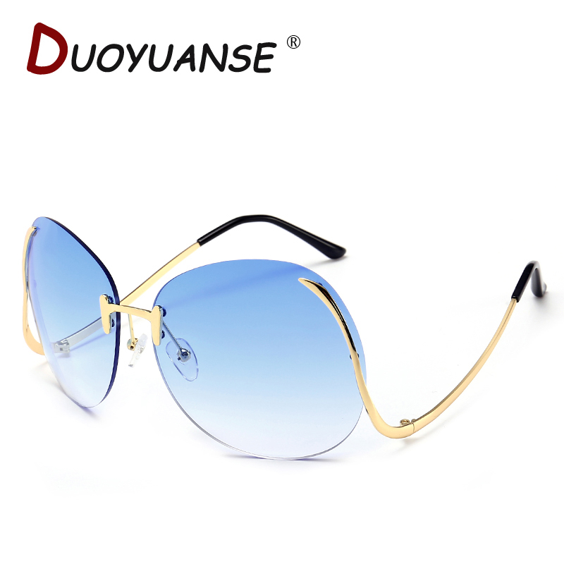 DUOYUANSE Colorful sea bent leg frameless sunglasses Ms font b fashion b font metal Sun Glasses