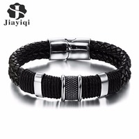 Stainless Steel Charm Bracelet Men Black Woven Leather Bracelet Bangle For Men Jewelry Valentine S Day