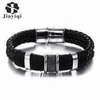 Stainless Steel Charm Bracelet Men Black Woven Leather Bracelet Bangle For Men Jewelry Valentine S Day