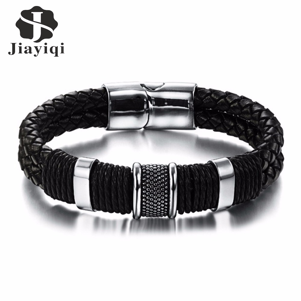 Jiayiqi 2017 Fashion Black Braid Woven Leather Bracelet Titas
