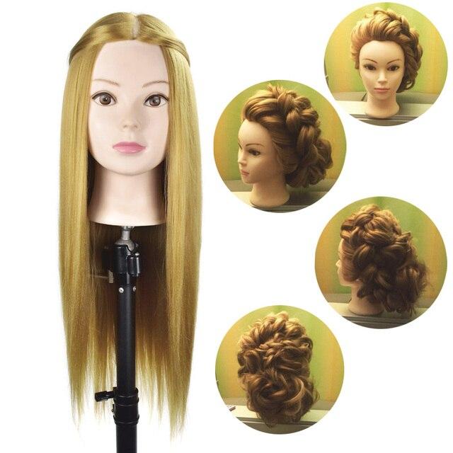 Mannequin Head Blonde Hair Maniqui Hairdressing Practice Heads Maniquies Women Educational Training Hairdresser Styling Head