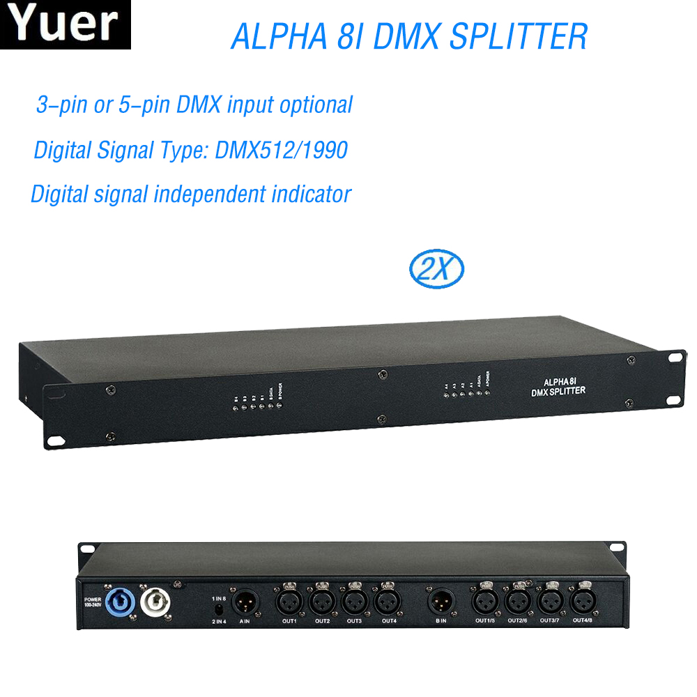 2Pcs/Lot New DJ Equipment Alpha 8I DMX Splitter 3pin or 5pin DMX Input Optional For Moving head Par Cans Stage DJ Effect Fogger|Stage Lighting Effect| |  - title=