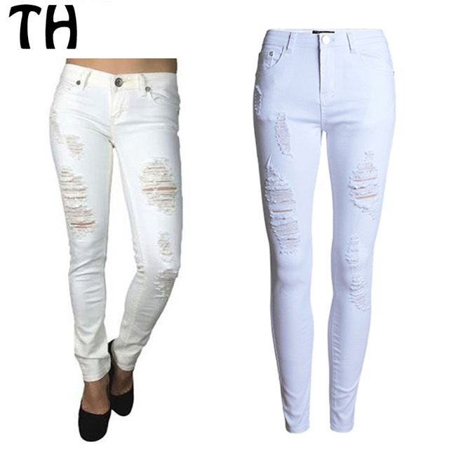 9ab5977adacea 2016 slim fit blanco ripped Jean Taille Haute pantalon vaqueros Mujer moda  Denim Pantalones alta cintura