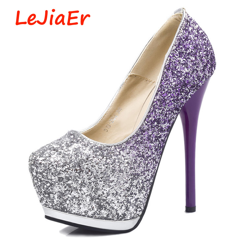 ef182ab6282c extreme high heels party shoes for women designer shoes platform pumps  glitter shoes purple pumps women shoes high heel D687