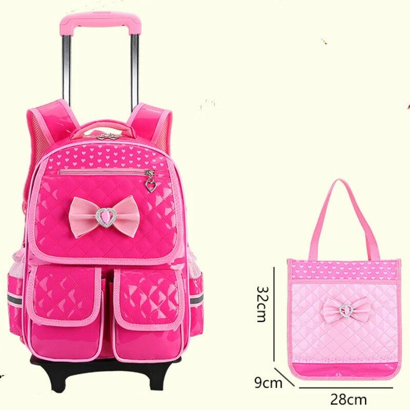 Sacs à roulettes imperméables filles d'école 2017 sac à dos amovible chariot école enfants grande capacité sacs de livre sac de bagages de voyage