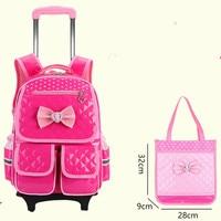 Waterproof Wheeles Bags School girls 2017 Removable Trolley Backpack School Children Large Capacity Book Bags Travel Luggage Bag