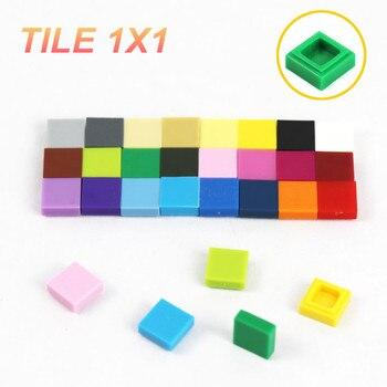 100 stücke Flache Fliesen 1x1 MOC Stadt Gebäude Stücke Teile 3070 DIY Armee Lkw Ersetzen Zubehör Kinder Spielzeug kompatibel mit Lego