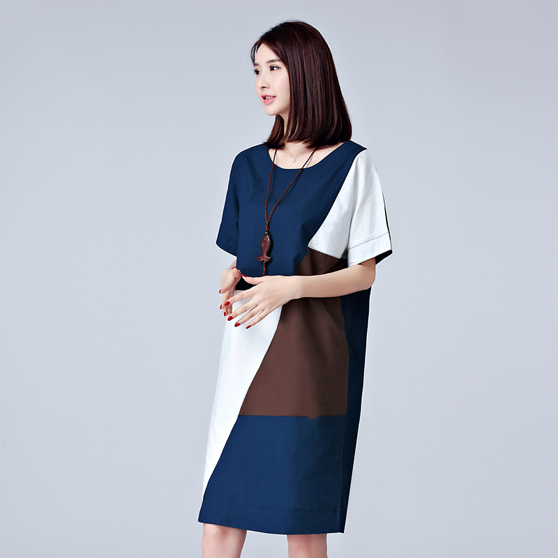 f115a373244 L~5XL Plus Size Cotton   Linen Color Matching Shift Dress Womens Summer NEW  voguees new Short Sleeve Big Size Straight Dress-in Dresses from Women s ...