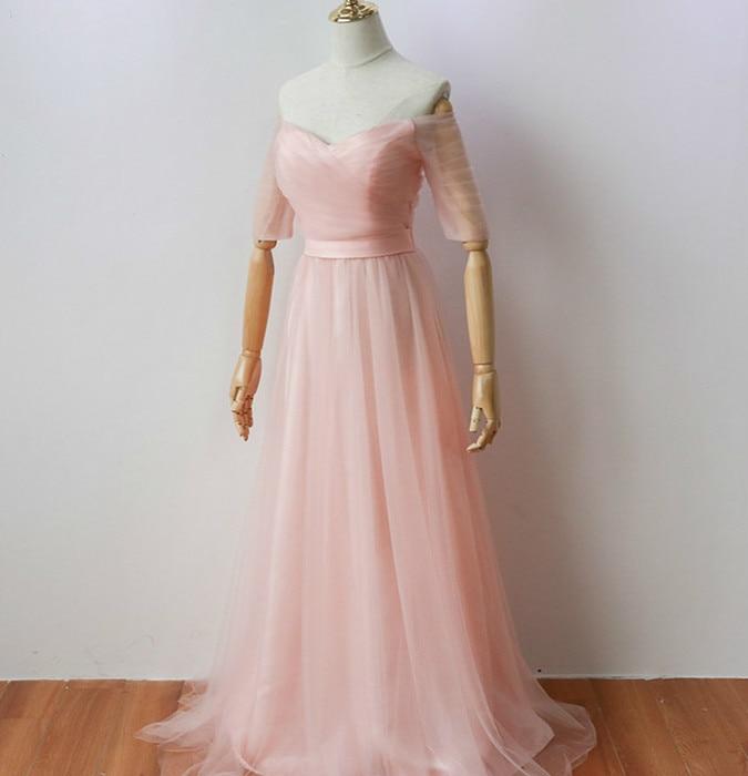 Vestido Pink Colour Long Party Dress  Elegant Dress Women For Wedding Party  Dress Bridesmaid  Floor-Length Back Of Bandage