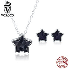 VOROCO 2019 Genuine 925 Sterling Silver Aventurine Goldstone Simple Star Pendants Jewelry Sets for Women Delicate Trendy Jewelry