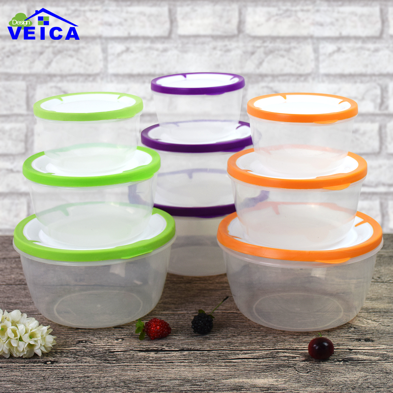 3Pcs/Lot Grid Kitchen Storage Boxes Bins Plastic Box Glossy Candy Jars Sealed Food Conta ...