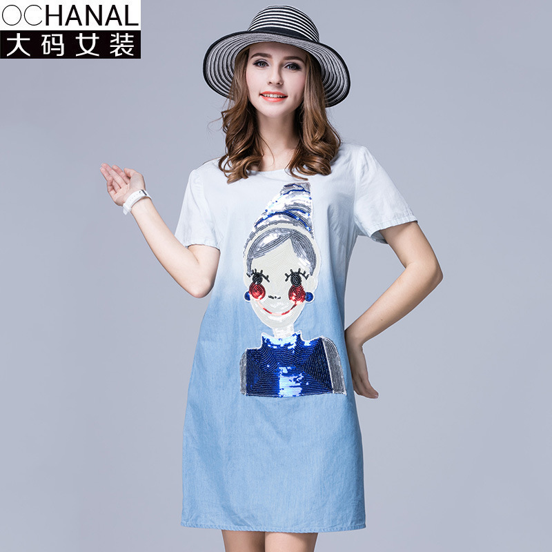Buy Cheap Summer Kawaii Dresses New Large Size Women Kawaii Dress For Fat Cotton Denim Cloth Color Gradient Dress Plus Size Women Clothing