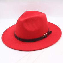 BINGYUANHAOXUAN High Quality Wool Fedoras Classic Fashion Belt Wide Brim Jazz Hats For Women Men Felt Hat