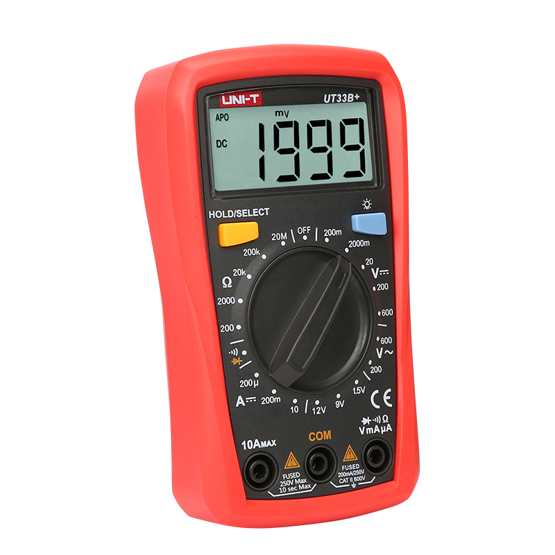 Digital UT33B+ Multimeters Current AC DC Voltage Resistance Diode Battety Test LCD Backlight Full Measure Palm Size Meters