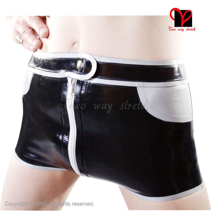Caleçon Sexy en Latex veste pour homme fausses poches boutons culottes en caoutchouc tongs pantalons chauds pantalons bermudes bas KZ-008