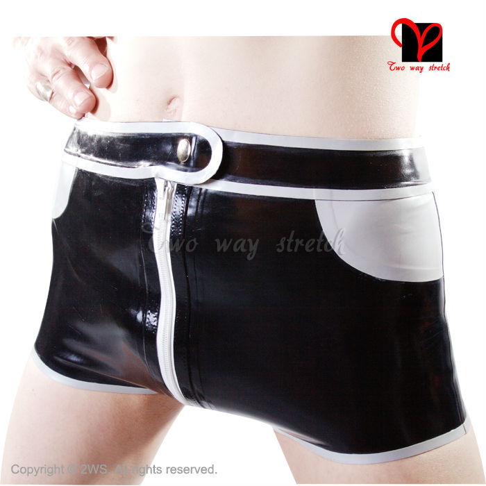 Exotic Apparel Sexy Latex Boxer Shorts Zipper Fly False Pockets Buttons Rubber Panties Thongs Hotpants Hot Pants Bermuda Bottoms Kz-008 Products Are Sold Without Limitations Novelty & Special Use