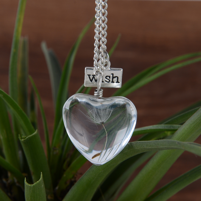 Heart wish bottle Vial Necklace with seed