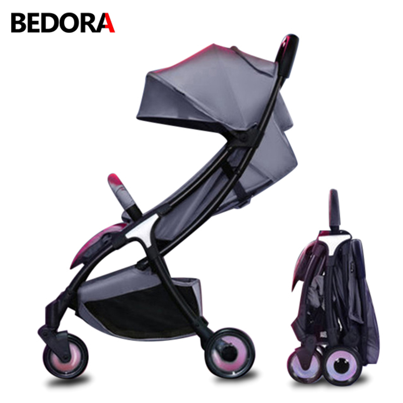 Bedora baby stroller umbrella stroller can sit and lie down Lightweight Children trolley folding ultralight High-end baby cart light foldable baby stroller 3 in 1 cozy can sit and lie lathe umbrella car stroller carry bag 4 colour three wheels single seat