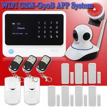 Free shipping GSM Security Alarm System for Home Protection WiFi GPRS Alarm System IOS Android APP Control Sensors IP Camera