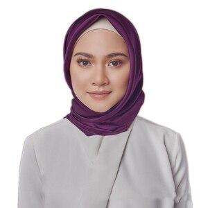 Image 5 - 黒女性の広場シルクスカーフラップ秋冬 Sjaal 高級大型サテンスカーフイスラム教徒のヘッドスカーフ 90*90 センチメートル