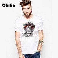 Chilin Mùa Hè Mới T-Shirt Men Fashion Ngắn Tay Áo T Shirt Mens Casual Hiệu Quần Áo Nam Ấn Độ Sư Tử T Shirts Tops Trai Tees