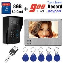 7 Inch Monitor recording Video Intercom Door Phone Doorbell 8GB Record Video System 900TVL HD Camera RFID Card password unlock