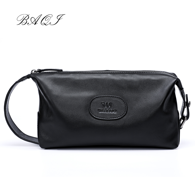 BAQI Brand Men Handbags High Quality Genuine Leather Cowhide 2019 Fashion Day Clutches Men Bag Casual Designer Ipad Phone Bag