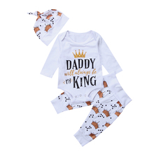 3PCS Newborn Baby Crown Clothes Toddler Girl Long Sleeve Letter Print Romper Tops Long Pant Hat 3PCS Outfits Kids Clothing Set