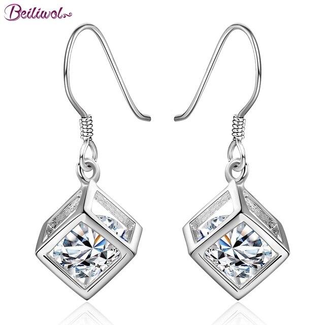 Beiliwol pendientes de gota de Color plateado para mujeres señora cuadrado elegante gran circonita cristal joyería colgante envío gratis