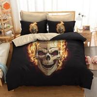 3D Fire Skull Soft comforter bedding sets With Pillowcase 48x74cm Printed Polyester Duvet Cover Set Full Queen King SizeSj232