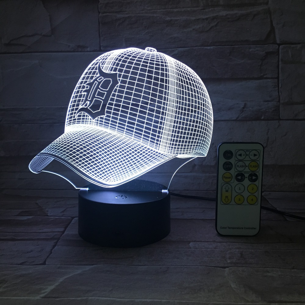 3D Baseball Hat Cap Night Light Optical Illusion Table Light Mood Lamp Touch Remote Control 7 Colors Home Light Drop Shipping